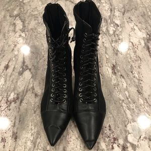 ZARA Lace up Ankle booties Black Leather & Nylon 7